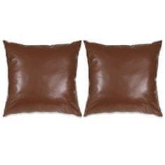2-częściowy zestaw poduszek, PU, 45x45 cm, brązowy