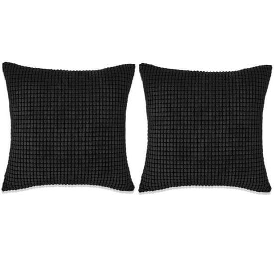 Sada polštářů 2 ks velur, 60 x 60 cm, černé