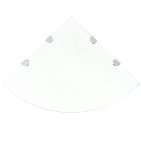 Rohová polička s chrómovanými úchytkami z priehľadného skla, 45x45 cm