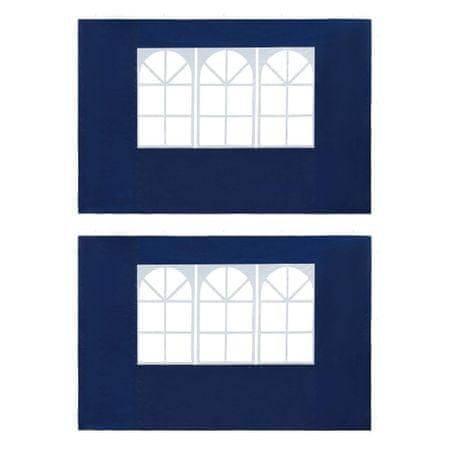 Ścianki boczne namiotu, 2 szt., z oknem, PE, niebieskie