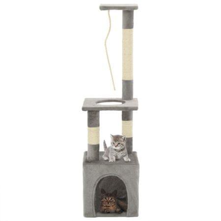 shumee szürke macskabútor szizál kaparófákkal 109 cm