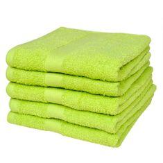 Ręczniki, 5 szt., bawełna, 500 g/m², 70x140 cm, zielone
