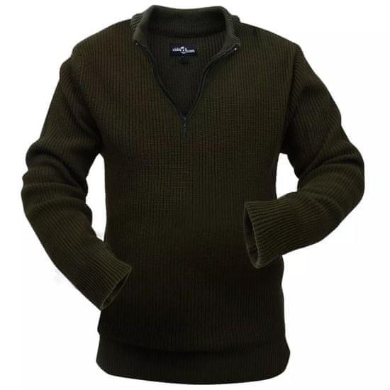 Pánsky pracovný pulóver, vojenská zelená, veľkosť L