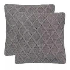 2 poduszki, bawełna o grubym splocie, 45x45 cm, ciemnoszare