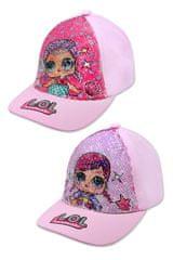 """SETINO Dekliška kapa s šiltom """"LOL"""" z bleščicami - svetlo roza"""