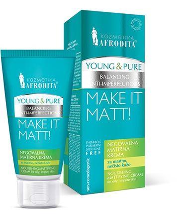 Kozmetika Afrodita Young & Pure hranjiva matirajuća krema, 50 ml