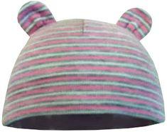 Yetty czapka niemowlęca dziewczęca, z uszami - w paski