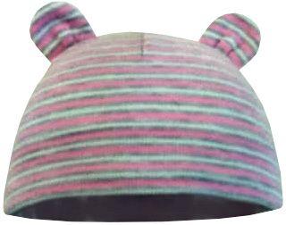 Yetty dívčí kojenecká čepice s oušky - pruhovaná 36 - 38 růžová