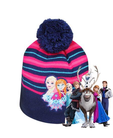 SETINO Disney dívčí čepice s bambulí Frozen - tm. modrá - 54 cm