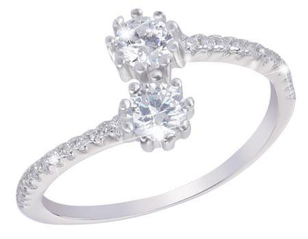JVD Srebrny pierścionek z kryształkami SVLR0093XG4BI (obwód 54 mm) srebro 925/1000