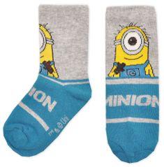 """Eplusm Chlapčenské vysoké ponožky """"Mimoni Stuart"""" - sivo modrá"""