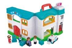 Teddies Domček nemocnice s doplnkami plast 12ks v krabici 64x33x12cm