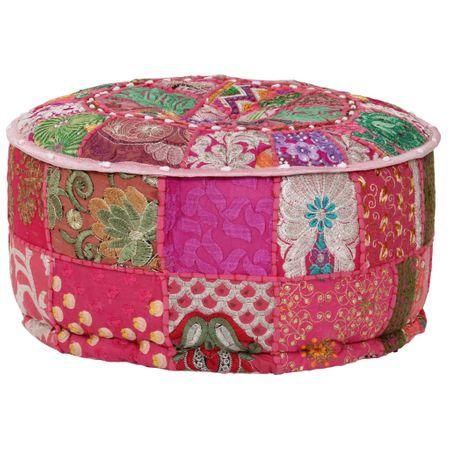 shumee Okrągły puf patchworkowy, ręcznie robiony, 40 x 20 cm, różowy