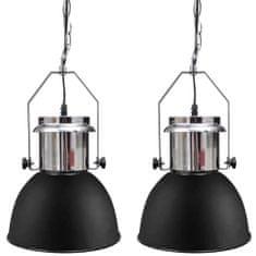 Metalowe lampy sufitowe, 2 szt., regulowana długość, czarne
