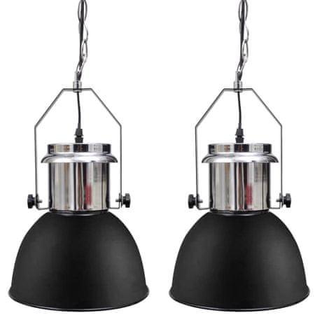 shumee Kovinska stropna svetilka 2 kosa z nastavljivo višino črna