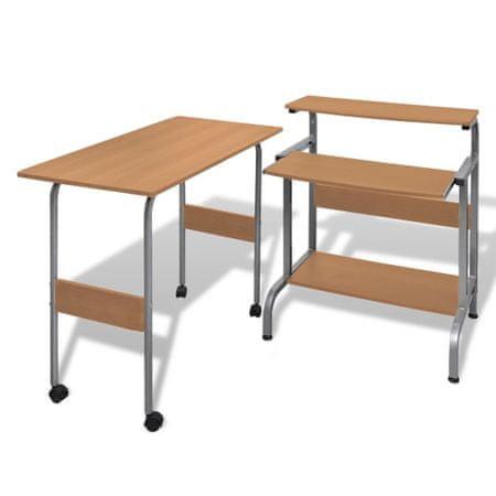 slomart Set pisalne in računalniške mize za pisarno Rjave barve