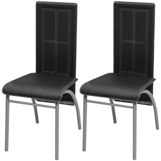Jedálenské stoličky 2 ks, čierne, umelá koža
