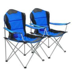 shumee Skladacie kempingové stoličky 2 ks 96x60x102 cm modré