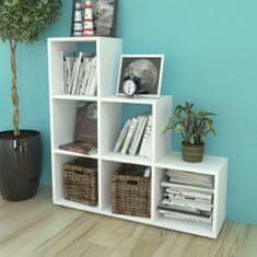 shumee Schodovitá knihovna / police k vystavování, 107 cm, bílá