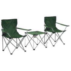3-dielna súprava kempingového stola a stoličiek zelená