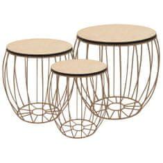 shumee Konferenční stolek 3dílná sada z překližky (topol) a železa