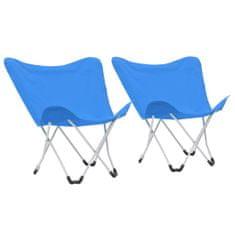 shumee Kempingové stoličky v tvare motýľa 2 ks modré skladacie