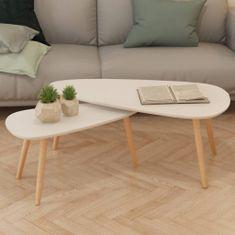 Súprava 2 bielych konferenčných stolíkov, masívne borovicové drevo