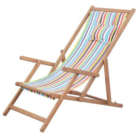 shumee Zložljiv stol za na plažo blago in lesen okvir večbarven