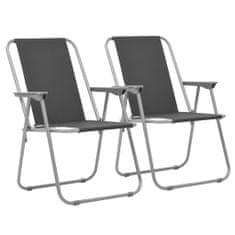 shumee Skladacie kempingové stoličky 2 ks 52x59x80 cm sivé