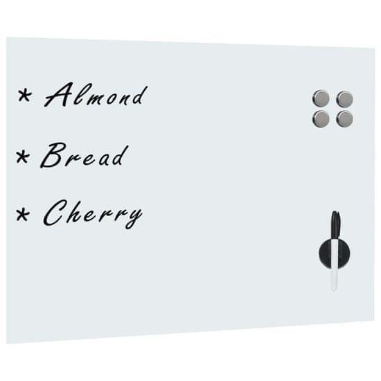 shumee Nástěnná magnetická tabule skleněná bílá 80 x 60 cm
