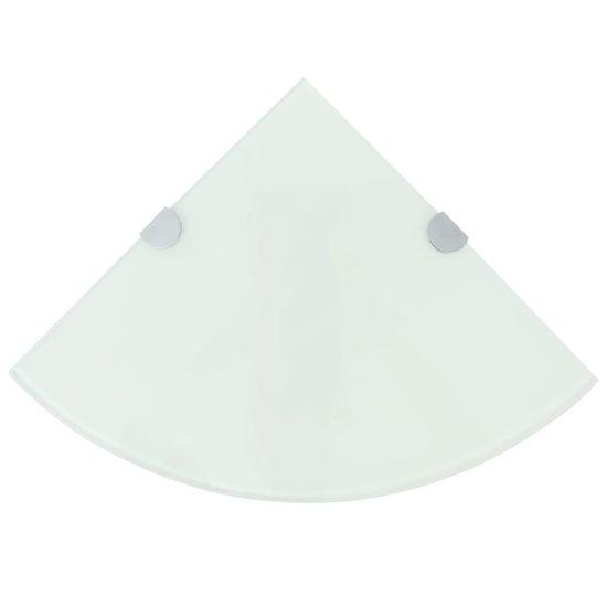 Rohová polička s chrómovanou podperou, sklenená, biela, 25x25 cm