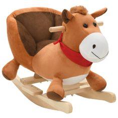 shumee Houpací plyšový kůň s opěradlem 60 x 32 x 50 cm hnědý