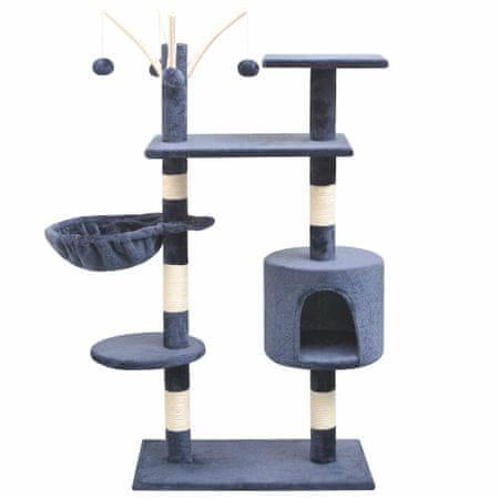 shumee sötétkék macskabútor szizál kaparófákkal 125 cm
