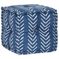 Kwadratowy puf bawełniany ze wzorem, 40 x 40 cm, indygo