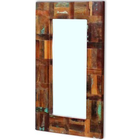shumee tömör újrahasznosított fa tükör 80 x 50 cm
