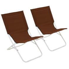 shumee Skladacie plážové stoličky 2 ks hnedé