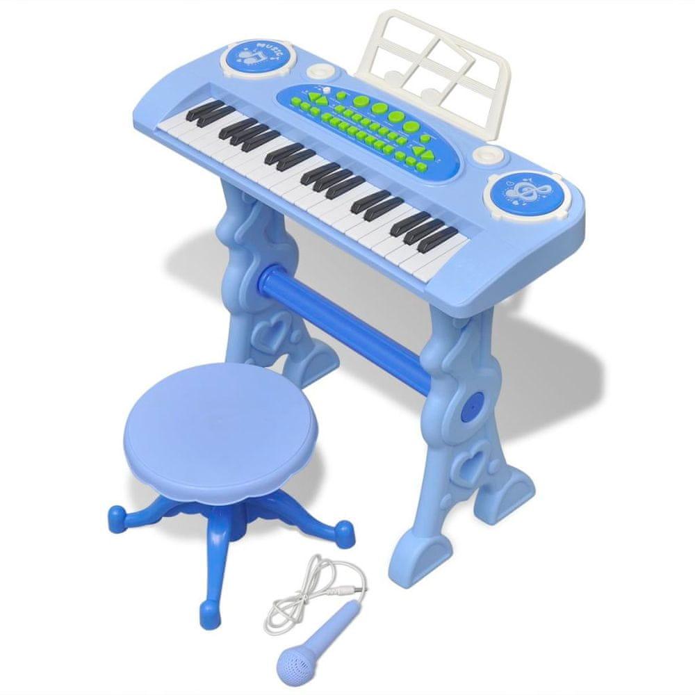shumee Dětské klávesy se stoličkou a mikrofonem 37 kláves modré