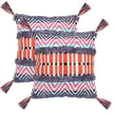 2 poduszki, 60x60 cm, styl boho, wielokolorowe