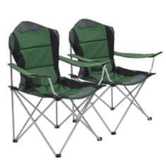 shumee Skladacie kempingové stoličky 2 ks 96x60x102 cm zelené