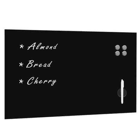 shumee Ścienna tablica magnetyczna, szklana, czarna, 100 x 60 cm