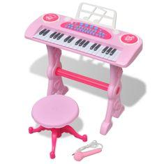 shumee Zabawkowy keyboard ze stolikiem i mikrofonem, różowy