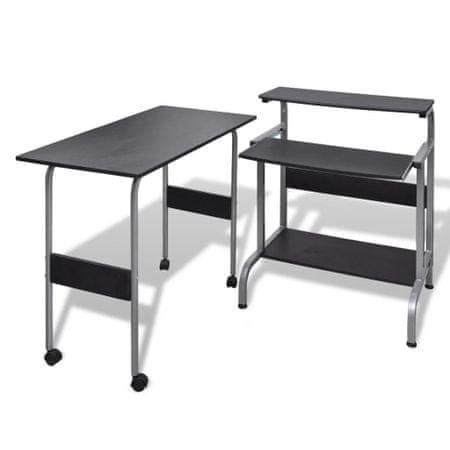 shumee Set pisalne in računalniške mize za pisarno Črne barve