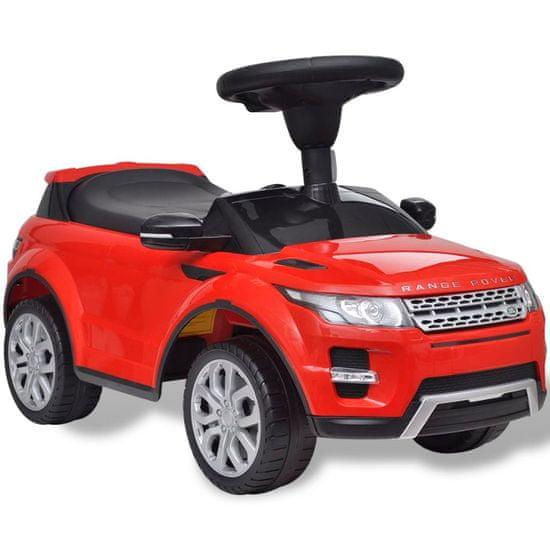 Detské pojazdné auto s hudbou, červené Land Rover 348