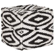 Kwadratowy puf bawełniany ze wzorem, 40 x 40 cm, czarno-biały