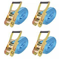 Taśmy mocujące z napinaczami, 4 szt., 4 T, 8m x 50mm, niebieski