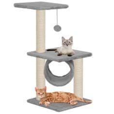 Drapak dla kota z sizalowymi słupkami, 65 cm, szary