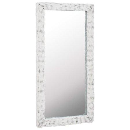 shumee fehér fonott vessző tükör 50x100 cm