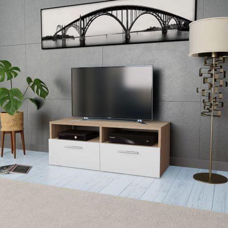 shumee tölgyfa/fehér színű faforgácslap TV szekrény 95 x 35 x 36 cm