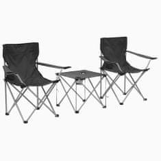3-dielna súprava kempingového stola a stoličiek sivá
