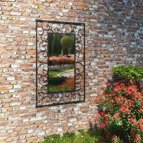 Záhradné nástenné zrkadlo obdĺžnikové 50x80 cm čierne